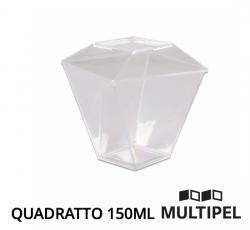 Copo Cristal Quadratto com Tampa 150ml Caixa com 30 x 10 un.