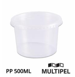 Pote PP redondo com tampa 500ml Caixa com 12 x 24 un.