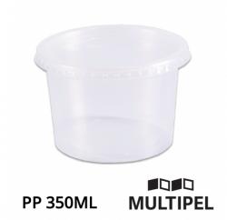 Pote PP redondo com tampa 350ml Pacote com 24 un.