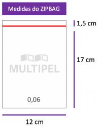 Saco ZIPBAG 12x17cm 0,06  pacote com 1000 un.