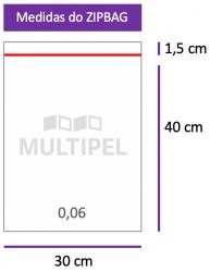Saco ZIPBAG 30x40cm 0,06  pacote com 1000 un.
