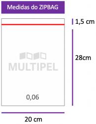 Saco ZIPBAG 20x28cm 0,06  pacote com 1000 un.