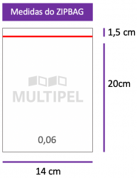 Saco ZIPBAG 14x20cm 0,06  pacote com 1000 un.