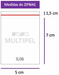 Saco ZIPBAG 5x7cm 0,06  pacote com 1000 un.