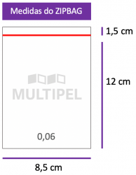 Saco ZIPBAG 8,5x12cm 0,06  pacote com 1000 un.