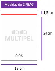 Saco ZIPBAG 17x24cm 0,06  pacote com 100 un.
