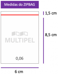 Saco ZIPBAG 6x8,5cm 0,06  pacote com 1000 un.