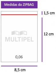 Saco ZIPBAG 8,5x12cm 0,06  pacote com 100 un.