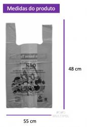 Sacola Lei Municipal Cinza 48x55cm Pacote com 500 un.