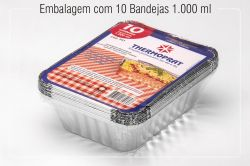 Bandeja Retangular de Alumínio c/ tampa 1000ml c/10