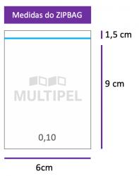 Saco ZIPBAG 6x9cm 0,10  pacote com 1000 un.