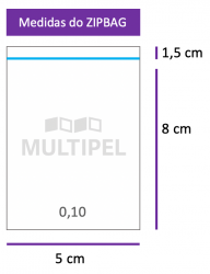 Saco ZIPBAG 5x8cm 0,10  pacote com 1000 un.