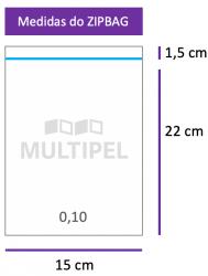 Saco ZIPBAG 15x22cm 0,10  pacote com 1000 un.