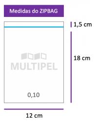 Saco ZIPBAG 12x18cm 0,10  pacote com 1000 un.