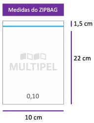 Saco ZIPBAG 10x22cm 0,10  pacote com 1000 un.