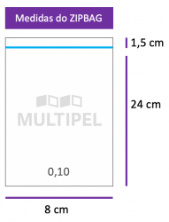 Saco ZIPBAG 8x24cm 0,10  pacote com 1000 un.