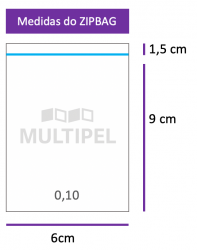 Saco ZIPBAG 6x9cm 0,10  pacote com 100 un.