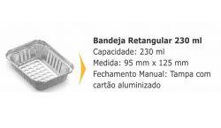 Bandeja Retangular de Alumínio c/ tampa 230ml c/400
