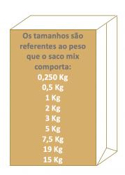 Saco de Papel Mix Pardo Liso 1/4 kg  Pacote 500 un.