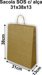 Sacola de Papel Kraft com Alça de Papel Torcida G (31x38x13) Pacote 10 un.