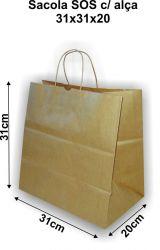 Sacola de Papel Kraft com Alça de Papel Torcida Delivery (31x31x20) Pacote 10 un.