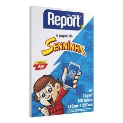 Papel Sulfite A4 Report Senninha 75g Pacotes de 100 Folhas.