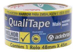 Fita Adesiva PP 48mmx45mt Qualitape Marrom com 1 Rolo