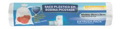 Saco Plástico em Bobina Picotada 25x33 Rolo com 100 Sacos