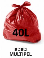 Saco Lixo Vermelho 40 Litros 0,06 com 100 un.