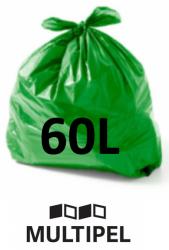 Saco Lixo Verde 60 Litros 0,06 com 100 un.