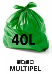 Saco Lixo Verde 40 Litros 0,06 com 100 un.