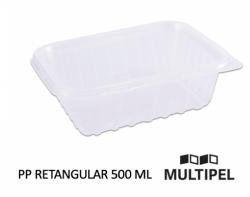Pote PP Retangular com tampa 500ml Caixa 6x24 un.