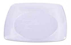 Prato Plástico Descartável 15CM Quadrado Branco Pacote 10 un.