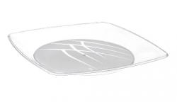 Prato Plástico Descartável 21CM Quadrado Cristal Caixa 20x10 un.