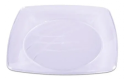 Prato Plástico Descartável 21CM Quadrado Branco Caixa 20x10 un.