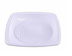 Prato Plástico Descartável Quadrado Flex 15CM  Branco Pacote 10 un.
