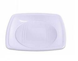 Prato Plástico Descartável Quadrado Flex 21CM  Branco Pacote 10 un.