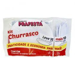 Kit Churrasco Branco Pacote 10 cj.