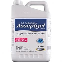 Álcool Gel 70° INPM Antisséptico Hidratante Asseptgel Aloe Vera Cristal 4,3Kg