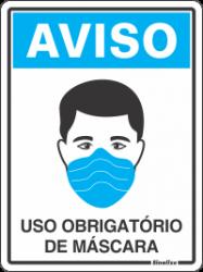 Placa de Sinalização em Poliestireno 15x20cm - Uso Obrigatório de Máscara
