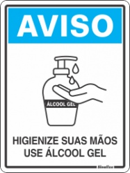 Placa de Sinalização em Poliestireno 15x20cm - Aviso Álcool em Gel