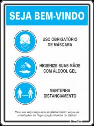Placa de Sinalização em Poliestireno 20x30cm - Educativa Covid-19