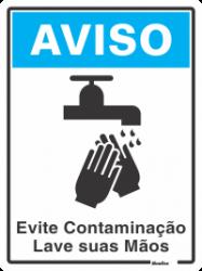Placa de Sinalização em Poliestireno 15x20cm - Lave suas Mãos