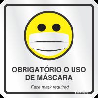 Placa de Sinalização em Alumínio 15x15cm - Uso de Máscara