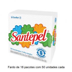 Guardanapo Folha Simples Santepel 24x22 cm Fardo de 16 pacotes c/ 50 unid cada.