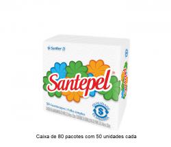 Guardanapo Folha Simples Santepel 24x22 cm Caixa  de 80 pacotes c/ 50 unid cada.