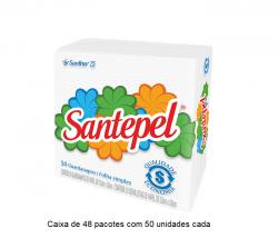 Guardanapo Folha Simples Santepel 33x30 cm Caixa  de 80 pacotes c/ 50 unid cada.