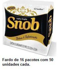 Guardanapo Folha Dupla Snob 23,5x23,5 cm. Fardo de 16 pacotes c/ 50 unid cada.