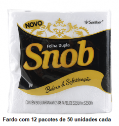 Guardanapo Folha Dupla Snob 32,5x32,5 cm. Fardo de 12 pacotes c/ 50 unid cada.