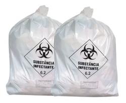 Saco Lixo Resíduo Infectante Branco 30 Litros com 100 un.